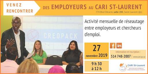 Rencontre avec des employeurs le 27 novembre de 9:30  à 12:00 au CARI