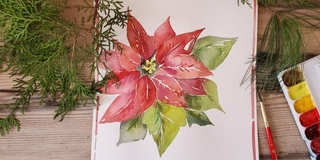 Paint a Poinsettia in Watercolors at Lucky's Market tickets