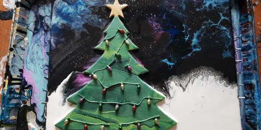 Oh Christmas Tree Pour Paint Class
