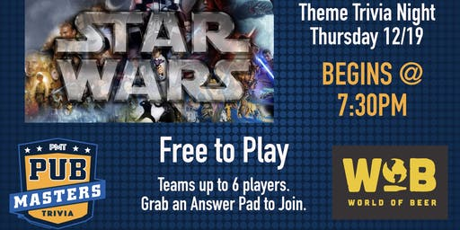 Star Wars Trivia at World of Beer Brandon