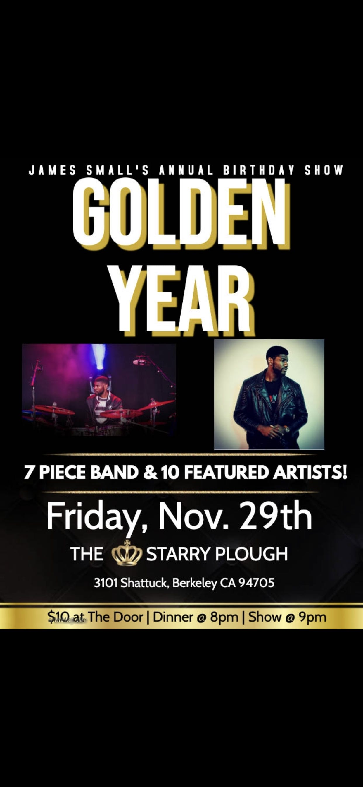 """James Small's Birthday Dinner/Concert/Jam """"My Golden Year"""" featuring some of his favorite Bay Area Artist"""