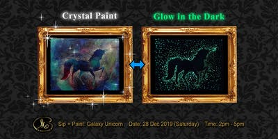 Sip and Paint (Crystal Paint+Glow in the Dark):  Galaxy Unicorn