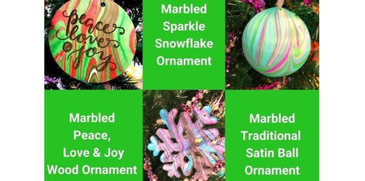 Learn to Marble Holiday Ornaments - Make & Take (12-13-2019 starts at 7:00 PM)