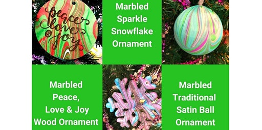 Learn to Marble Holiday Ornaments - Make & Take (12-21-2019 starts at 4:00 PM)
