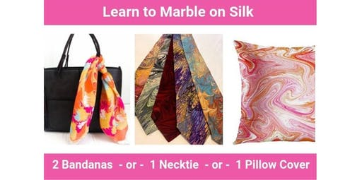 Learn to Marble on Silk - Bandana, Necktie or Throw Pillow Class (01-25-2020 starts at 4:30 PM)