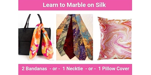 Learn to Marble on Silk - Bandana, Necktie or Throw Pillow Class (12-20-2019 starts at 7:00 PM)