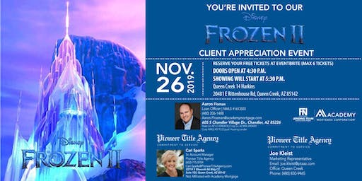 Client Appreciation & Private Showing of Frozen II