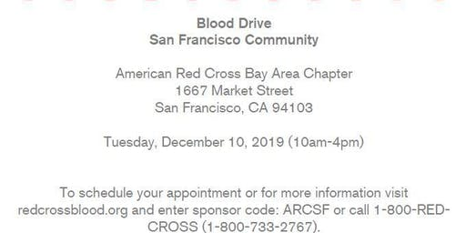 Red Cross-San Francisco Community Blood Drive-Tuesday, December 10, 2019