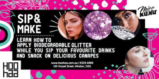 SIP & MAKE by Hoo Haa | Biodegradable glitter tutorial with Minimal Glitter!