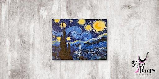 Sip & Paint MY @ Ampang :  Starry Night by Van Gogh