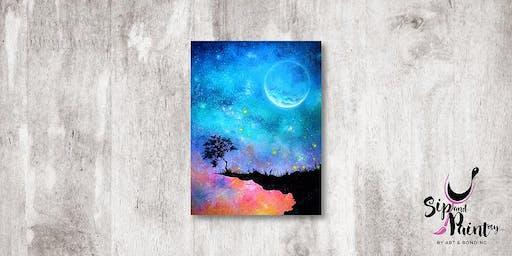 Sip & Paint MY @ Ampang :  Dreamy Moonlit Sunset