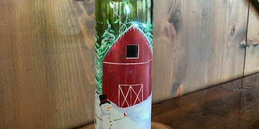Holiday Wine Bottle Painting
