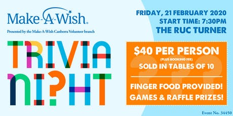 Make-A-Wish Canberra 2020 Trivia Night tickets