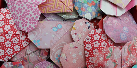 Origami heart bunting tickets