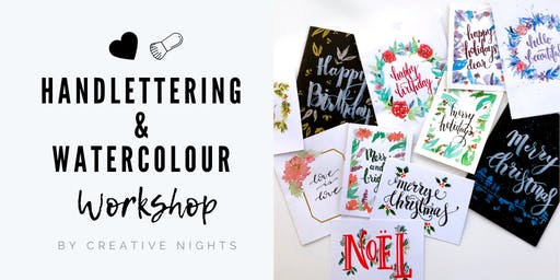 Handletter and Watercolour Card Making Workshop - Creative Nights