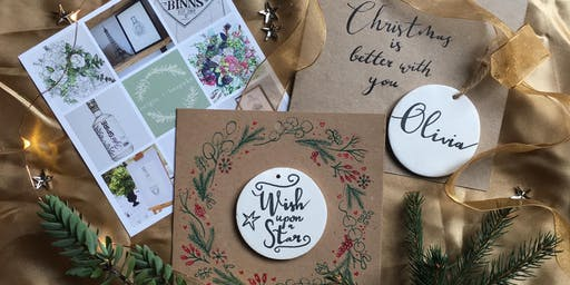 Christmas Crafts with Modern Calligraphy Ceramic Keepsake