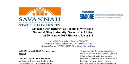 Modeling with Differential Equations Workshop  at Savannah State University