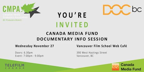 Canada Media Fund Documentary Info Session| presented by DOC BC & CMPA BC tickets
