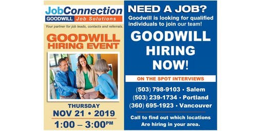 Goodwill is Hiring  - Fisher's Landing/ Vacouver - 11/21/19