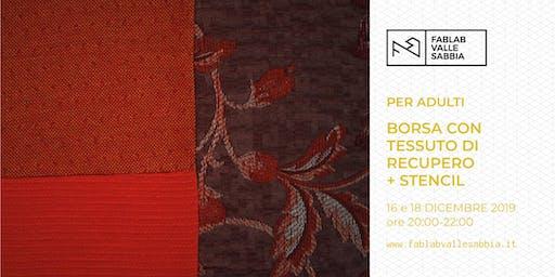 Borsa con tessuto di recupero personalizzata con stencil