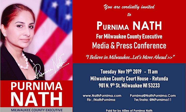 Press & Media Conference - Purnima Nath for Milwaukee County Executive image