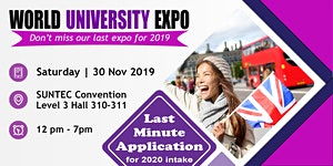 World Uni Expo @ Suntec Sat 30 Nov Level 3 Hall 311...