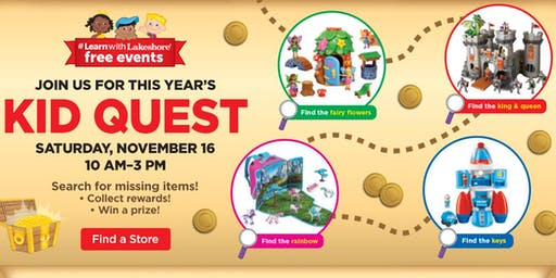 Bonus FREE In Store Event on 11/16! Lakeshore's Kid Quest (Littleton, Denver)