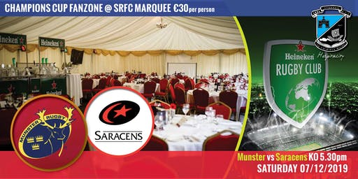 Champions Cup Hospitality SAT 07.12.19 Munster Rugby V Saracens KO 5.30pm