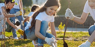 KIDS PLANT TREES at Manor Playing Fields