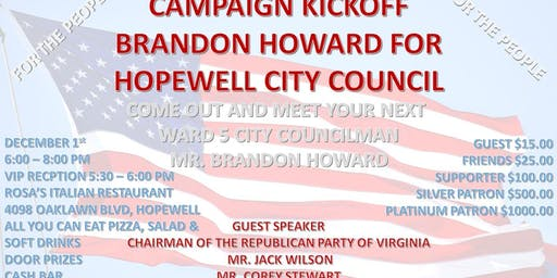 Brandon Howard for Hopewell City Council 2020 Campaign Kick Off