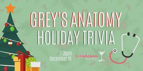 Grey's Anatomy Christmas Trivia - Dec 19, 7:20pm - CBH Ellerslie tickets