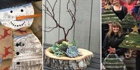 DIY Holiday Workshop: Succulent Centerpiece, rustic tree & snowman tickets