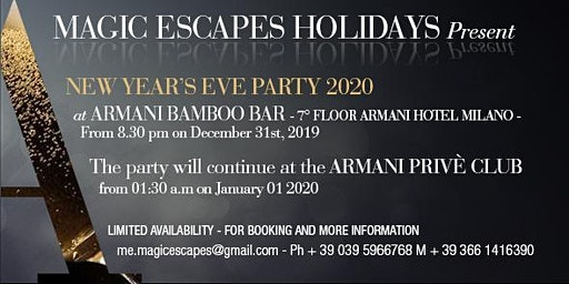 New Year's Eve 2020  Magic Escapes Holidays  Party at Armani Hotel Milano