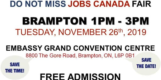 Free: Brampton Job Fair - November 26th, 2019