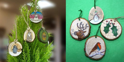 Christmas Tree Decorations in Pyrography