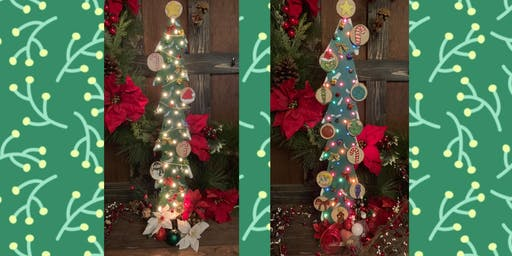 "30"" Tall Wooden Light Up Wood Tree Paint Night-Traditional or Grinch Theme"