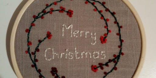 Hand Embroidered Festive Hoop Textile Workshop