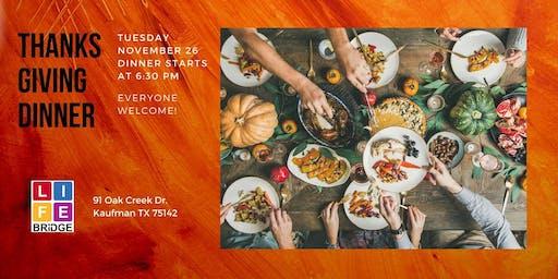 Thanksgiving Dinner - November 26 at 6:30 pm