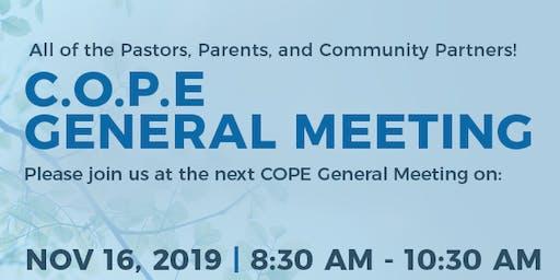C.O.P.E.  General Meeting: Saturday, November 16,  2019