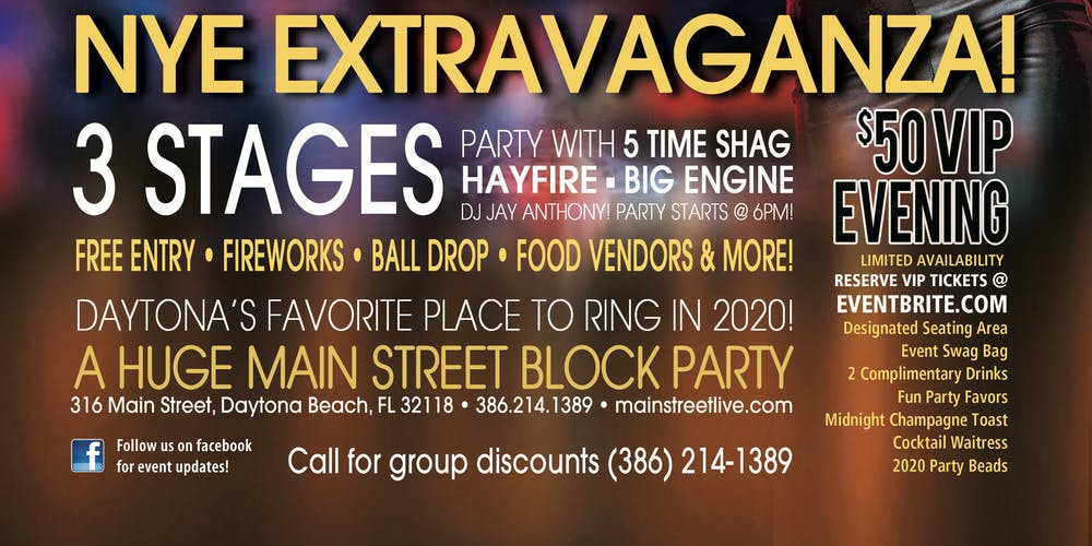 Events In Daytona Beach Florida 2020.Celebrate New Years Eve At Main Street Station Tickets Tue