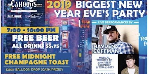 "New Years Eve-""Live"" Hayden Coffman-Bryce Mauldin-$2500 Balloon Drop-FREE Beer"