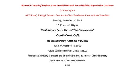 2019 WCR-AA Annual Holiday Luncheon tickets