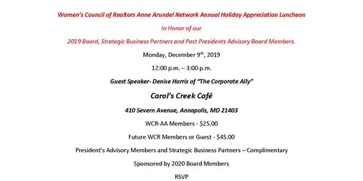 2019 WCR-AA Annual Holiday Luncheon