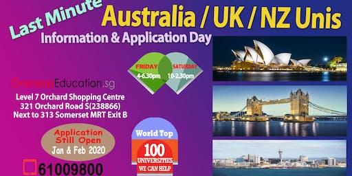 Last-minute Australia/UK/NZ Uni & Uni Pathways Info & Appln Day