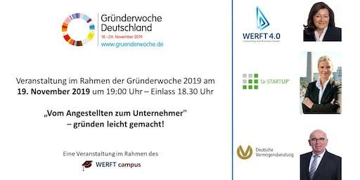 Gründerwoche Deutschland: Vom Angestellten zum Unternehmer – gründen leicht