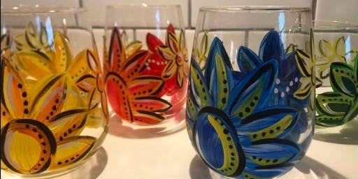 Feb 18 Stella's Not Your Average Paint-N-Sip - Stemless Bandanna Style Wine Glasses