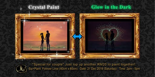 Sip and Paint (Crystal Paint+Glow in the Dark):  Forever Love (40cm x 60cm)