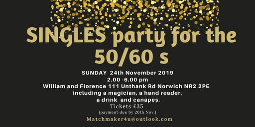 Singles party for the 50 /60 s