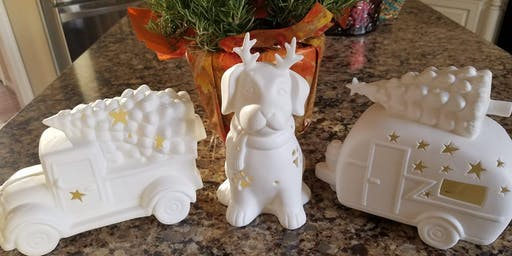 Lighted Ceramic Holiday Paint Night with DIY Paints