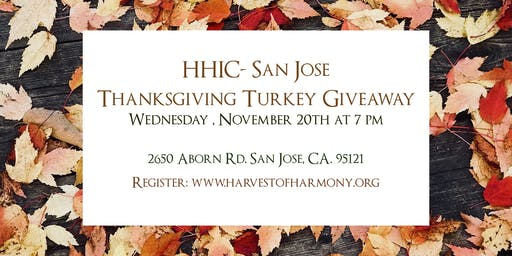 HHIC San Jose Turkey Giveaway